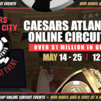 The Caesars Atlantic City Online Circuit runs May 14-25 at WSOP.com with 12 championship gold rings awarded and $1 million in guaranteed.